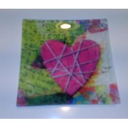 bandeja cristal corazón rosa