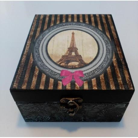 Caja De Madera Artesanal Decoracion Torre Eiffel