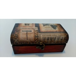 Caja madera decorativa motivos vino.