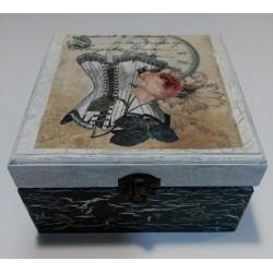 Caja madera decorativa con Corset.