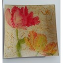 Bandeja decorativa cristal Tulipanes.