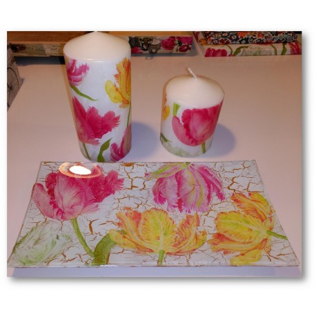conjunto bandeja velas tulipanes