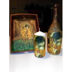 Juego Bandeja, vela y Botella Klimt .