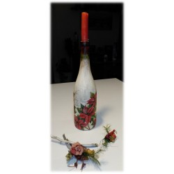 Botella decorativa Navidad Flor de pascua