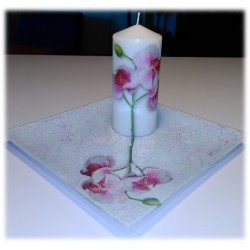 Conjunto a juego vela y bandeja Orquídea.