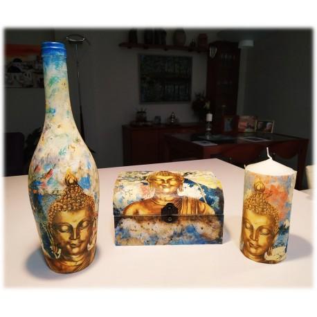 Juego caja, botella, bandeja y vela