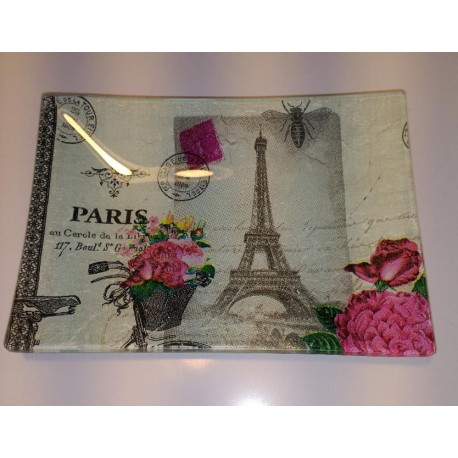 Bandeja Decorativa Cristal Paris Torre Eiffel