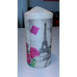 Vela decorativa París, flores y Torre-Eiffel